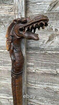 Beautiful Vintage Hand Carved Wooden Dragon Walking Stick (C3)