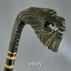Black Dragon Hand Carvin Canes Walking Sticks Wooden Handmade Hiking Stick