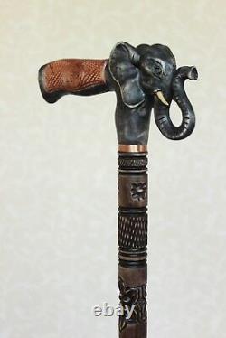 Black Elephant wooden cane Hand carved walking stick Hiking stick Wood elephant