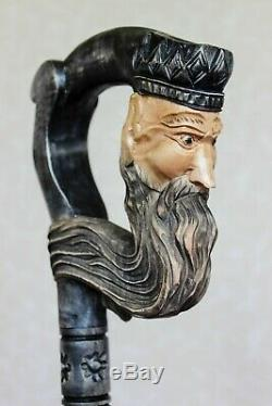 Black wooden cane Dark King Carved handle Hand carved Walking stick cane