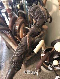 Bone Carved Wooden Sword Walking Stick Cane Antique Old Lot Whale Gold Sterling