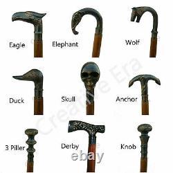 Brass Antique Style Designer Handle Cane Wooden Walking Stick Set of Nine 9