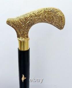 Brass Derby Beautiful Solid Black Walking Stick cane Victorian Wooden Cane