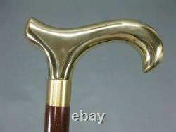 Brass Designer Handle Vintage Walking Derby Head Wooden Shaft Victorian Stick
