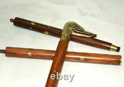 Brass Duck Style Head Handle Walking Stick Cane Shaft 36 Wooden Stick