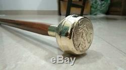 Brass Handle Lot Of 6 Pieces Designer Head walking Stick leather wooden Cane