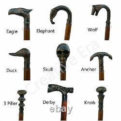 Brass Head 9 Different Designer Handle Wooden Walking Stick Vintage Walking Stik