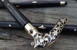 Brass Victorian Head Handle Wooden Vintage Style Walking Stick Cane Designer New