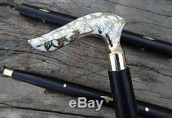 Brass Walking Stick Victorian Handle Wooden Vintage Walking Cane