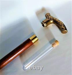 Brass Wooden Walking Stick with Hidden Plastic Phial Brass, Wood