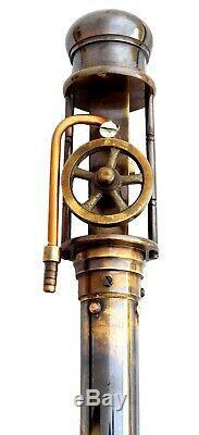 Brass Working Steam Engine Handle Wooden Walking Stick Vintage Antique Canes