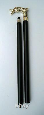 Brass derby style head handle vintage/ black wooden walking stick cane