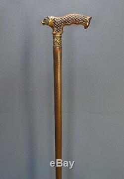 Bronze Bear Cane Handmade Walking Stick Wooden Unique Men's Accessories