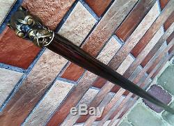 Bronze Dog Cane Walking Stick Wooden Wood Handmade Men's Accessories Cane NEW