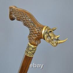 Bronze Rhinoceros Cane Handmade Walking Stick Wooden Unique Men's Accessories