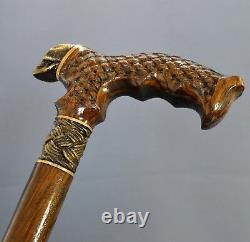 Bronze Skull Cane Handmade Walking Stick Wooden Unique Men's Accessories Oak