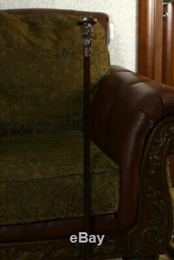 Bronze Walking Stick Brass Cane Metal top handle wooden shaft Pirate & Monkey 36