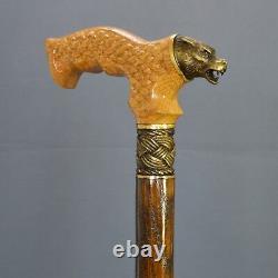 Bronze Wolf Cane Handmade Walking Stick Wooden Unique Men's Accessories