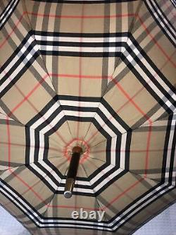 Burberry Vintage Check Nova Logo Wooden Handle Walking Stick Umbrella RRP£530