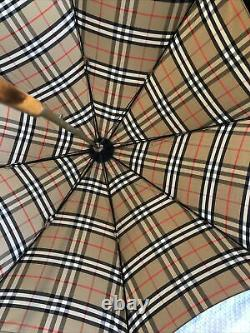 Burberry Vintage Check Nova Logo Wooden Handle Walking Stick Umbrella RRP£530 06