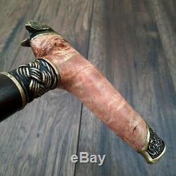 Burl Canes Sticks Walking Cane wooden wood Walking Stick Handmade Bronze M61