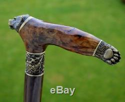 Cane Reed BURL Wooden Handmade Walking Stick Unique Accessories Canes BEAR PAW