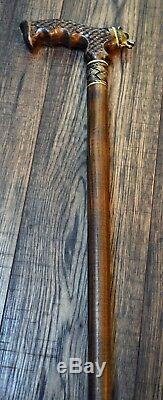 Cane Walking Cane Stick Bronze Bear Dark Wood Wooden HANDMADE Canes Exclusive