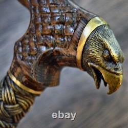 Cane Walking Cane Stick Bronze Eagle Dark Wood Wooden HANDMADE Canes
