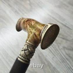 Cane Walking Stick BURL Handle Wooden Handmade Unique Bronze parts # 82