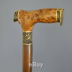 Cane Walking Stick BURL Handle Wooden Handmade Unique Bronze parts Boar