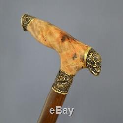 Cane Walking Stick BURL Handle Wooden Handmade Unique Bronze parts Joker Skull