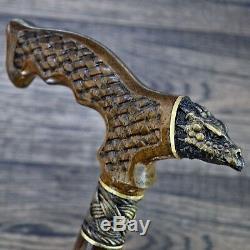 Cane Walking Stick Bronze Dragon Wood Wooden HANDMADE Canes Mens Accessories NEW
