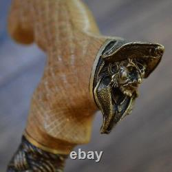 Cane Walking Stick Bronze Pirate Wood Wooden HANDMADE Canes Mens Accessories NEW