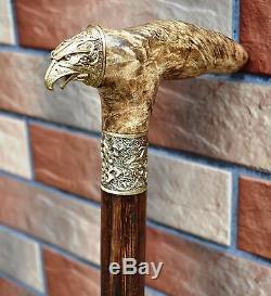 Cane Walking Stick @ EAGLE @ Wood Wooden BURL Handmade