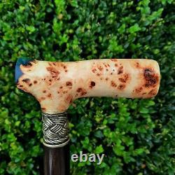 Cane Walking Stick Handmade Wooden Walking Cane Hybrid Acrylic Burl Handle Z4