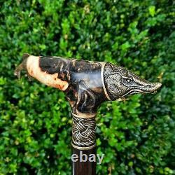 Cane Walking Stick Handmade Wooden Walking Cane Hybrid Acrylic Burl Handle Z62