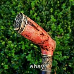 Cane Walking Stick Handmade Wooden Walking Cane Stabilized Burl Handle Y85
