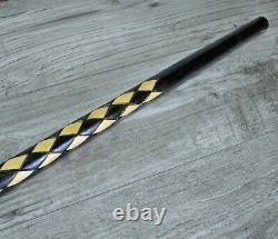 Cane Walking Stick Wooden carved Handmade Old Dragon Black