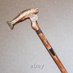 Carved Walking stick cane Fish Rainbow trout Wood Handmade Wooden Staff Fishing