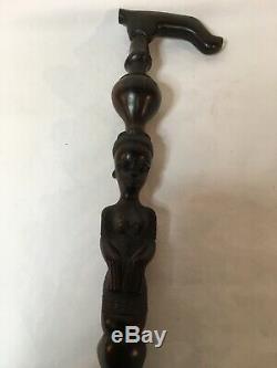 Carved Wooden African 37 Ebony Black Walking Stick/ Cane Figural
