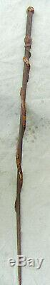 Carved Wooden Walking Stick Cane Snake Motif Mexican