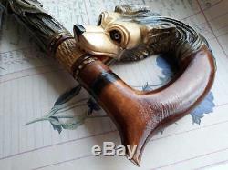 Carved wooden cane Walking cane dog Designer canes Wooden walking stick NW44