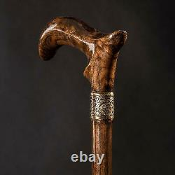 Classic Jazzy Wooden Cane Luxury Derby Walking Stick Carved Handmade Gift