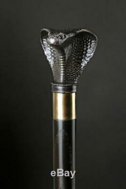 Cobra Walking Stick Cane Dark Wooden Handmade Wood Hand Carved Snake AC104