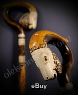 Collectible Wooden Walking Cane Stick Handcrafted Handmade Woodcarving Exclusive