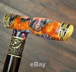 Crusader Walking Cane Walking Stick Wooden Handmade Bronze Parts Stabilized Burl