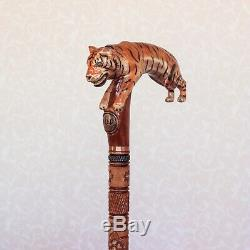 Custom walking cane with Tiger Hand carved handle Wooden stick Tiger cane Hiking