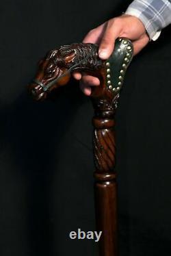 Designer Art Wooden Cane Walking Stick Horse with Saddle Wood & Leather Work