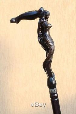 Designer Men's Wooden Walking Canes Sticks Siren Stylish Carved Antique Cane