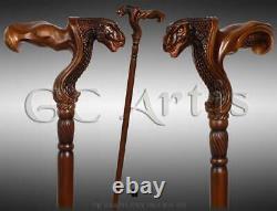 Dinosaur Walking Stick Wooden Walking Cane Ergonomic Palm Grip